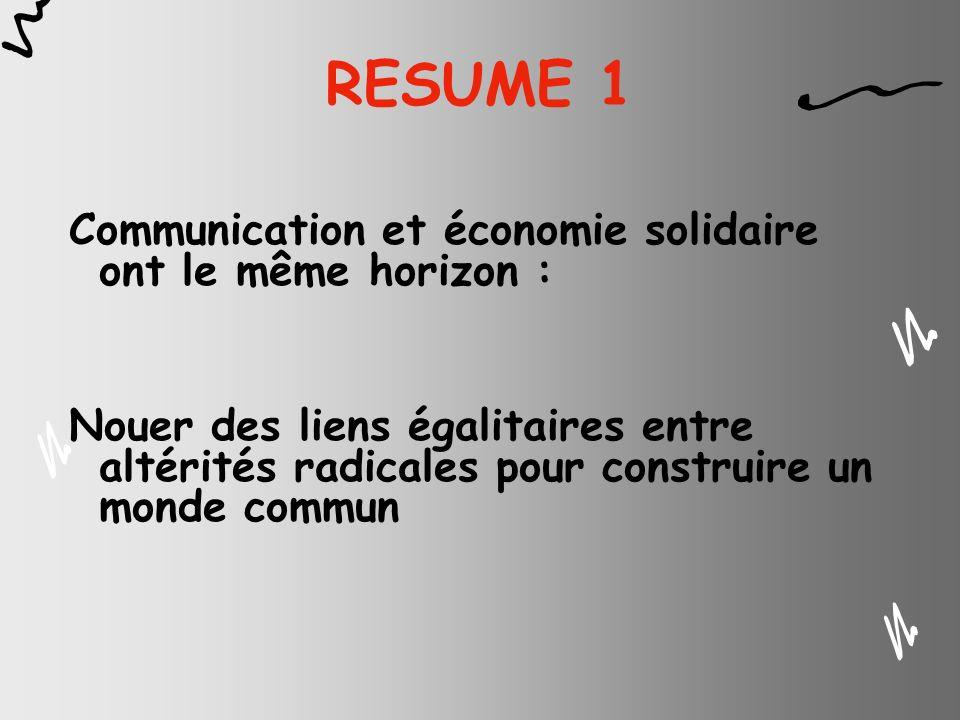 RESUME 1 Communication et économie solidaire ont le même horizon :
