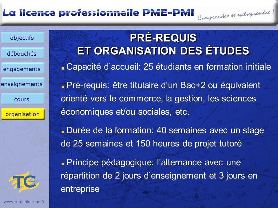 PRÉ-REQUIS ET ORGANISATION DES ÉTUDES