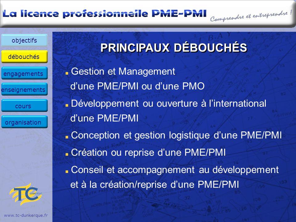 PRINCIPAUX DÉBOUCHÉS Gestion et Management d'une PME/PMI ou d'une PMO