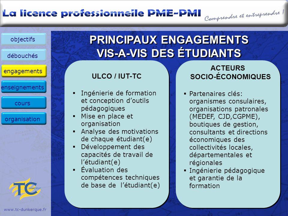 PRINCIPAUX ENGAGEMENTS VIS-A-VIS DES ÉTUDIANTS