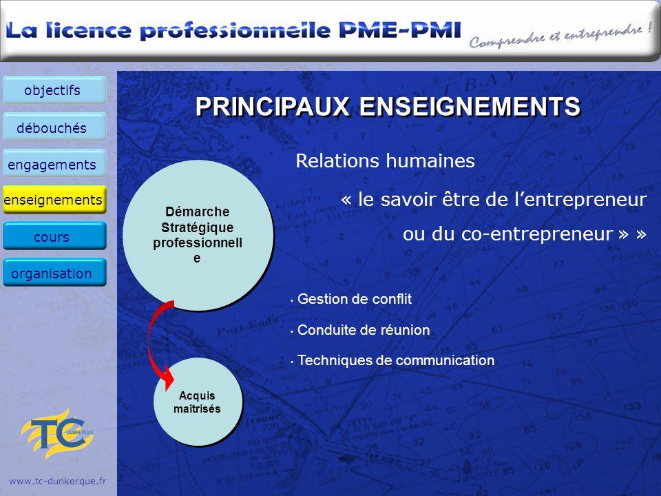 PRINCIPAUX ENSEIGNEMENTS