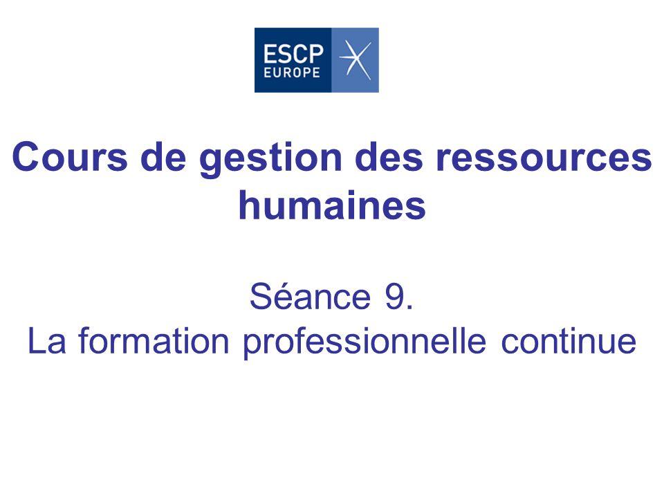 Cours de gestion des ressources humaines Séance 9