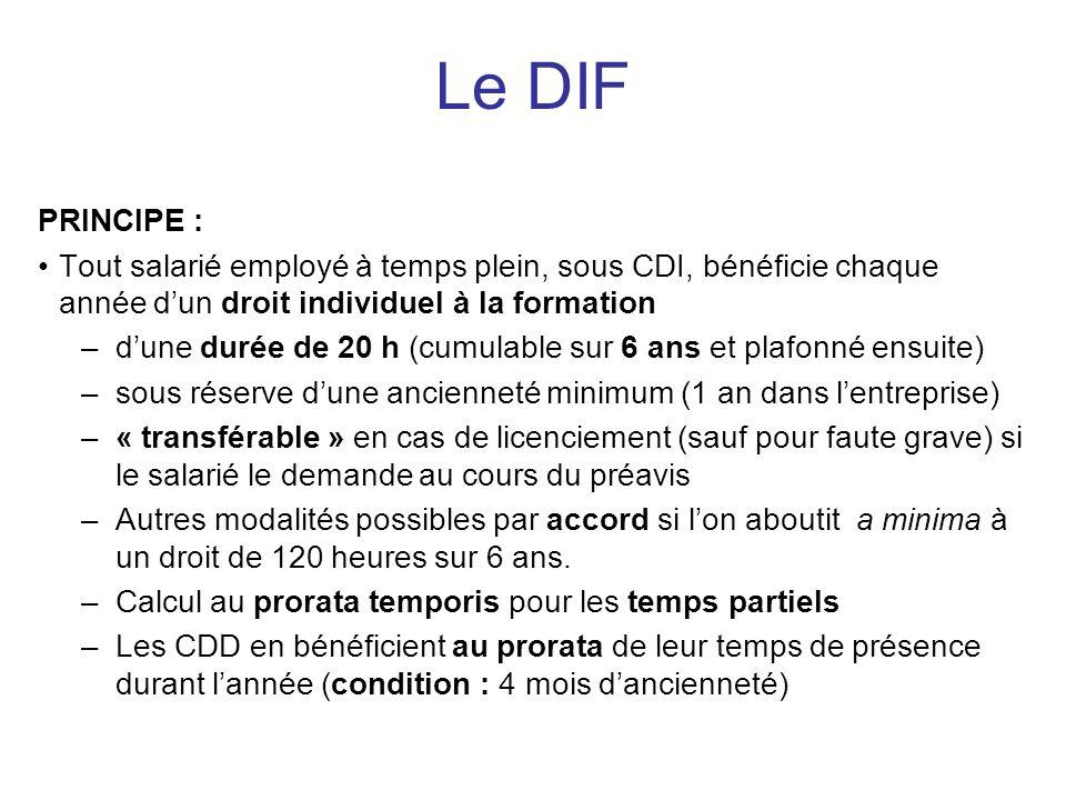 Le DIF PRINCIPE : Tout salarié employé à temps plein, sous CDI, bénéficie chaque année d'un droit individuel à la formation.