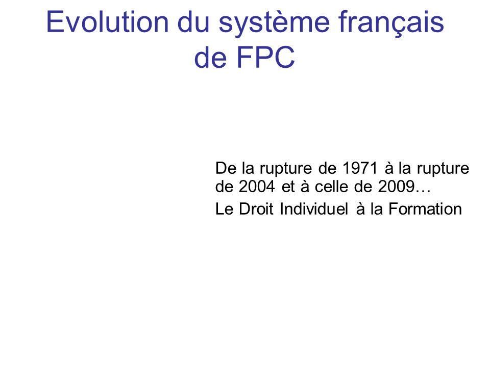 Evolution du système français de FPC
