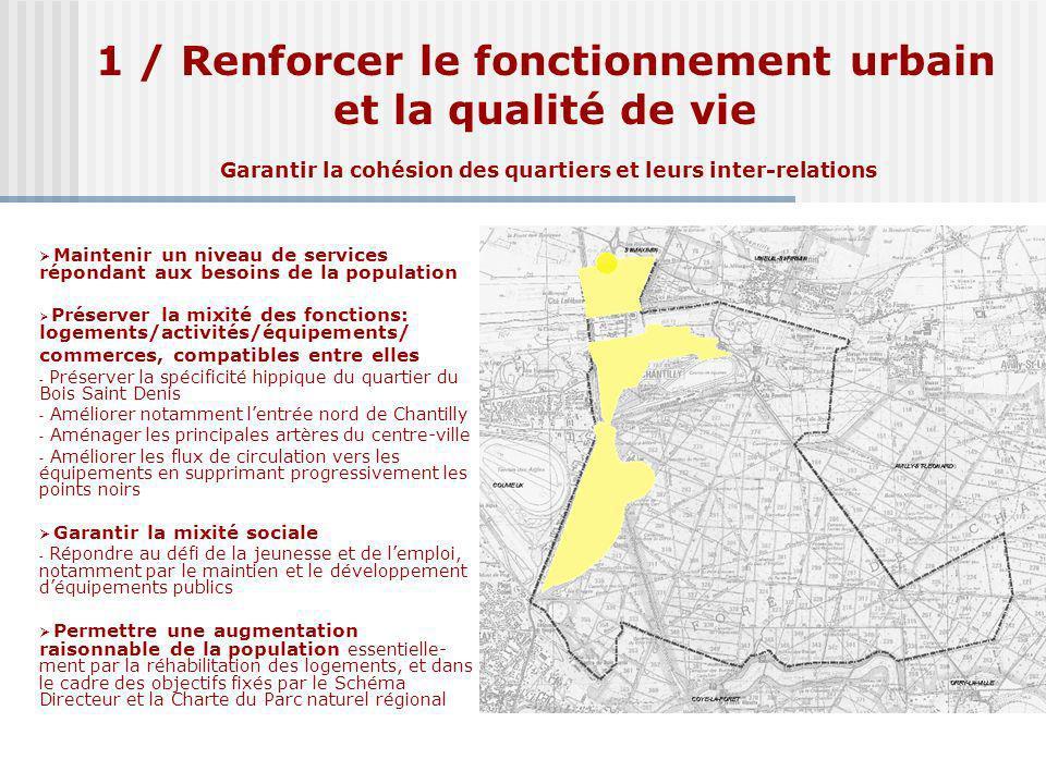 1 / Renforcer le fonctionnement urbain et la qualité de vie Garantir la cohésion des quartiers et leurs inter-relations