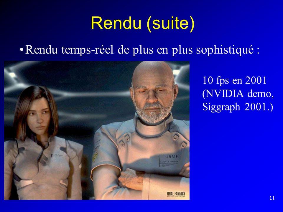 Rendu (suite) Rendu temps-réel de plus en plus sophistiqué :