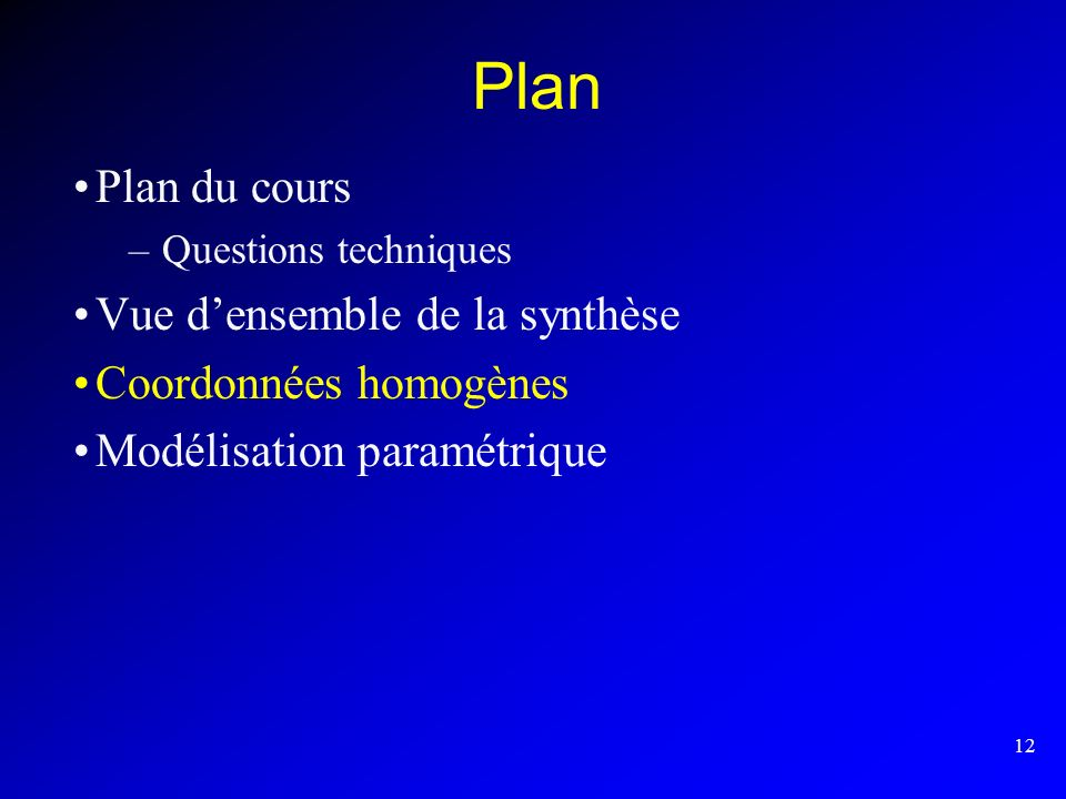 Plan Plan du cours Vue d'ensemble de la synthèse Coordonnées homogènes