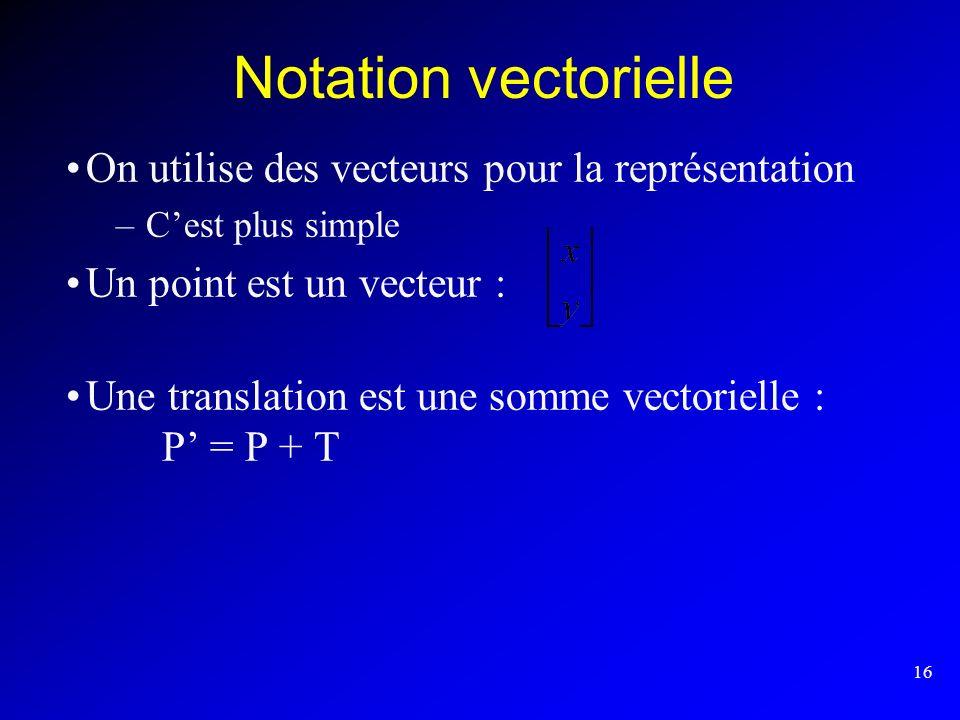 Notation vectorielle On utilise des vecteurs pour la représentation