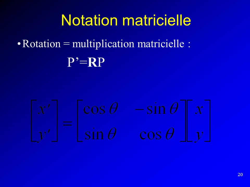 Notation matricielle Rotation = multiplication matricielle : P'=RP