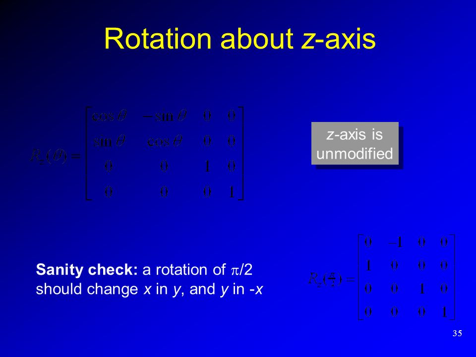 Rotation about z-axis z-axis is unmodified