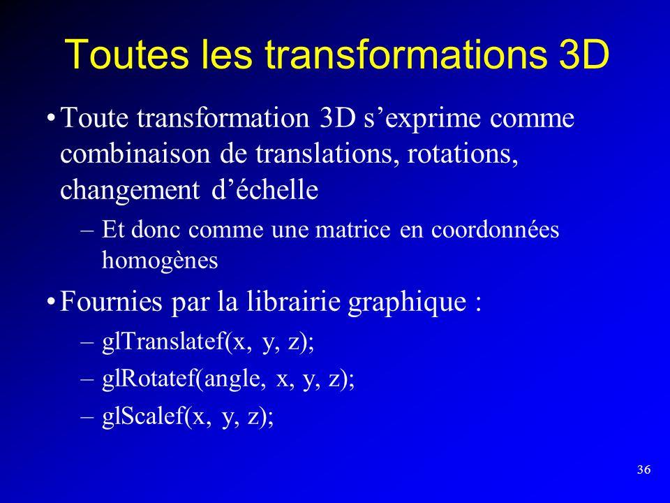 Toutes les transformations 3D