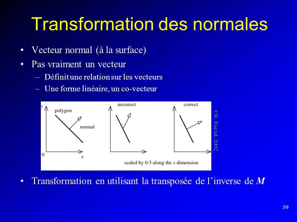 Transformation des normales