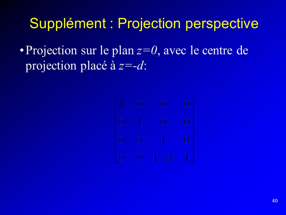 Supplément : Projection perspective