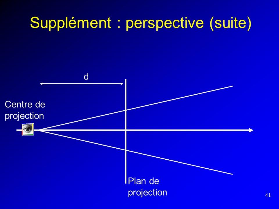 Supplément : perspective (suite)