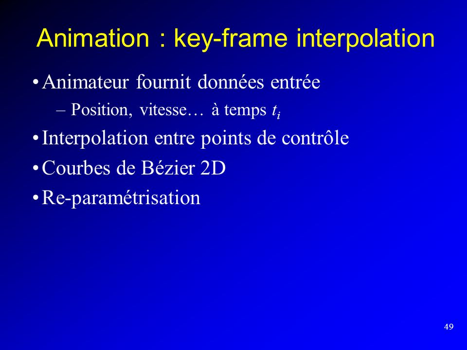 Animation : key-frame interpolation