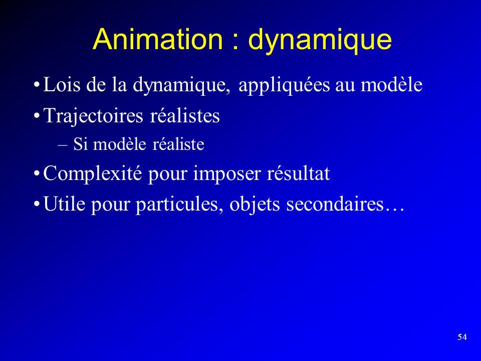 Animation : dynamique Lois de la dynamique, appliquées au modèle