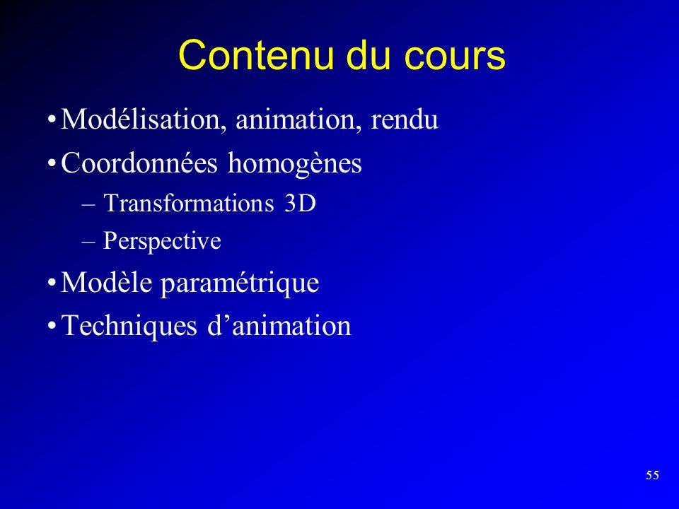 Contenu du cours Modélisation, animation, rendu Coordonnées homogènes