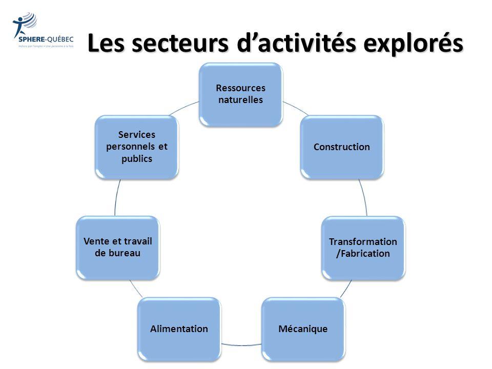 Les secteurs d'activités explorés