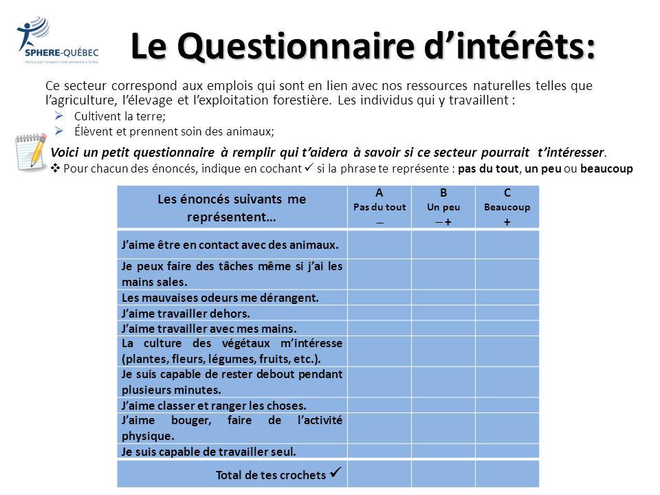 Le Questionnaire d'intérêts: