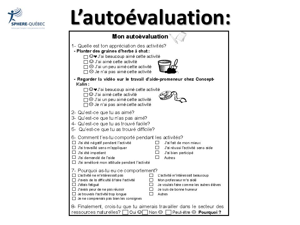 L'autoévaluation: