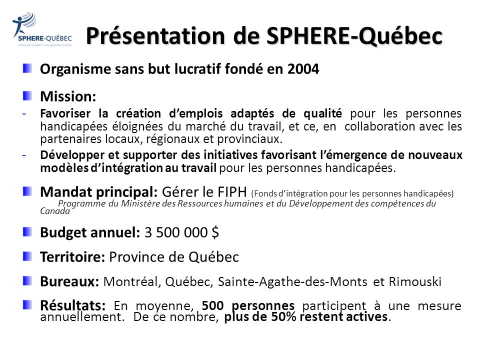 Présentation de SPHERE-Québec