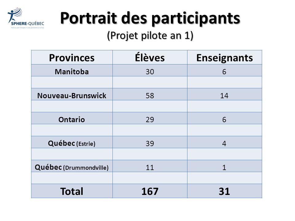 Portrait des participants (Projet pilote an 1)