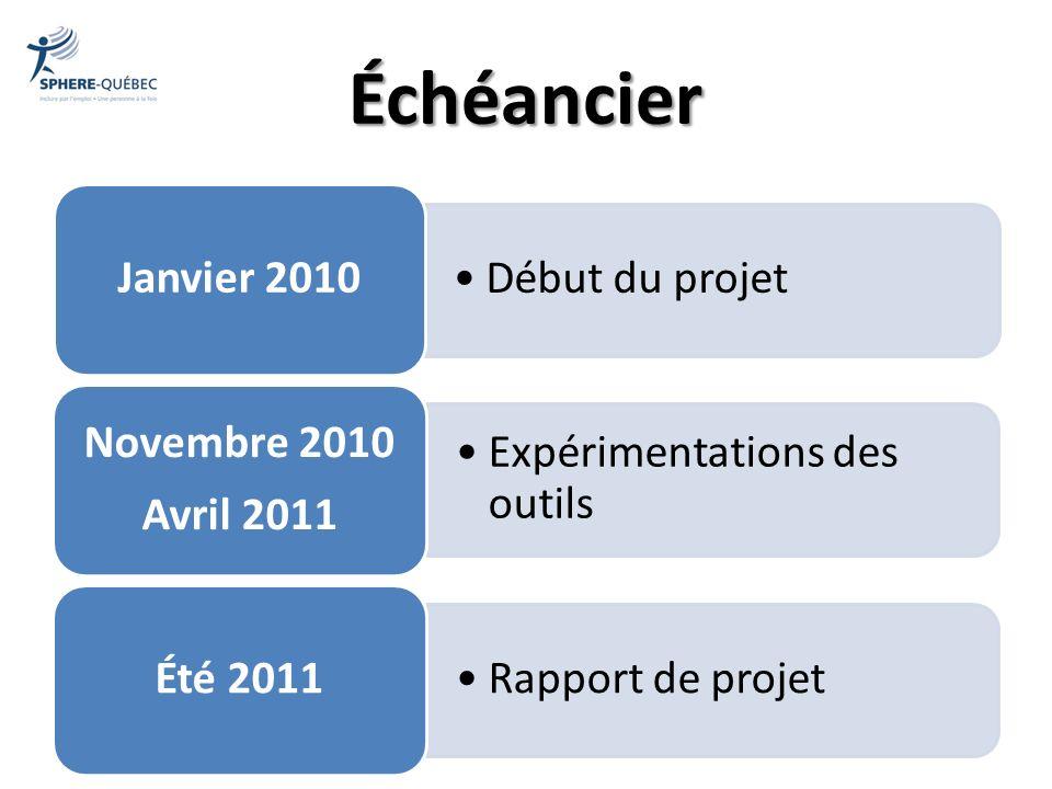 Échéancier Expérimentations des outils Rapport de projet Novembre 2010