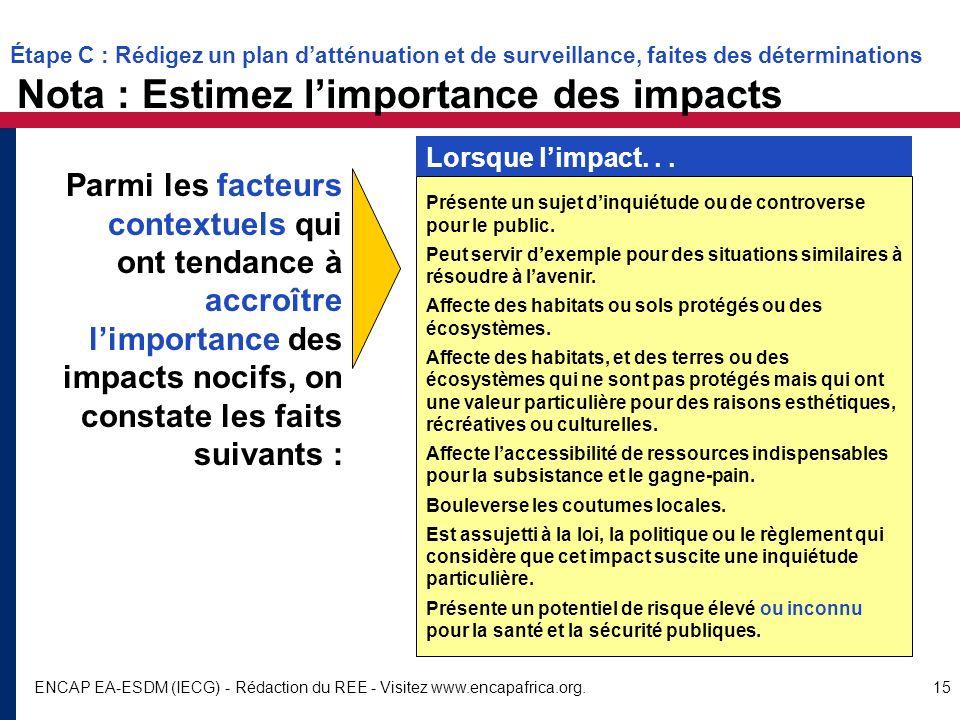 Étape C : Rédigez un plan d'atténuation et de surveillance, faites des déterminations Nota : Estimez l'importance des impacts
