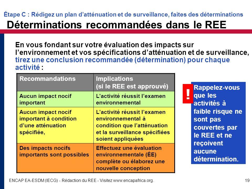 Étape C : Rédigez un plan d'atténuation et de surveillance, faites des déterminations Déterminations recommandées dans le REE