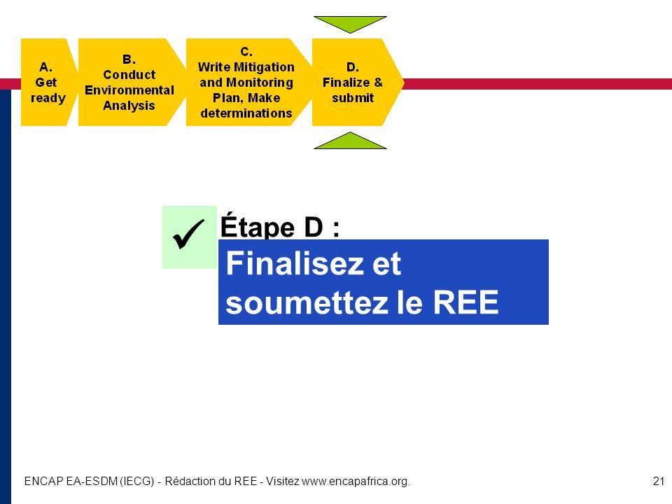  Finalisez et soumettez le REE Étape D :