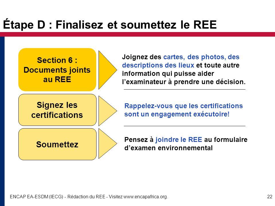 Étape D : Finalisez et soumettez le REE
