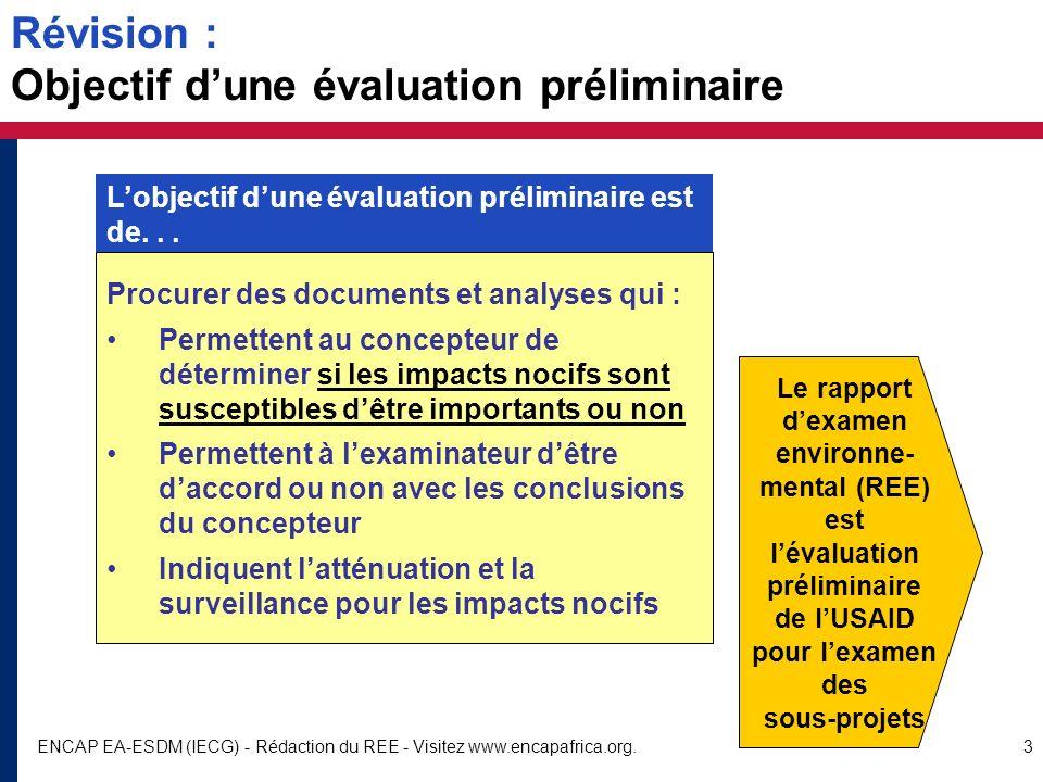 Révision : Objectif d'une évaluation préliminaire