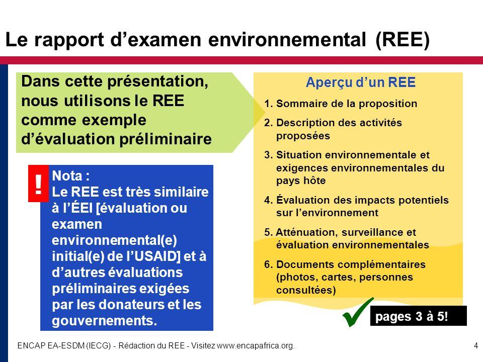 Le rapport d'examen environnemental (REE)