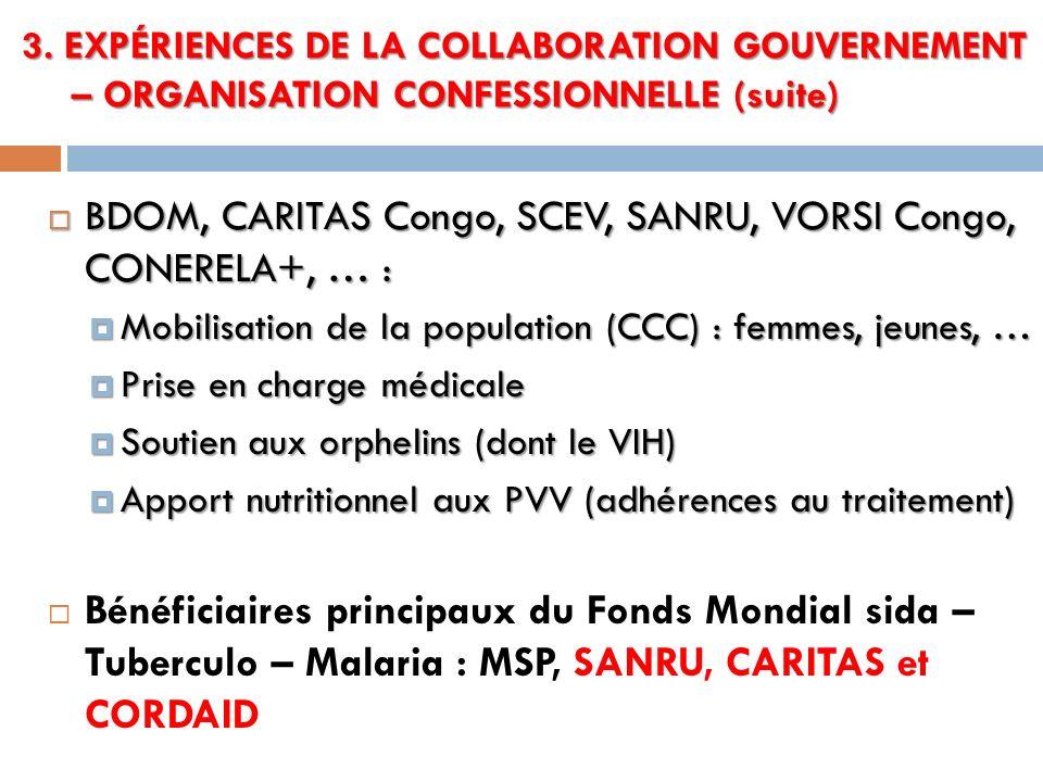 BDOM, CARITAS Congo, SCEV, SANRU, VORSI Congo, CONERELA+, … :