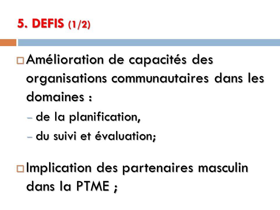 Implication des partenaires masculin dans la PTME ;