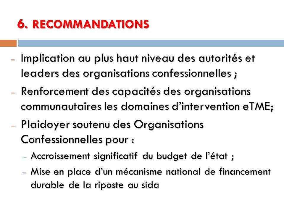 6. RECOMMANDATIONS Implication au plus haut niveau des autorités et leaders des organisations confessionnelles ;