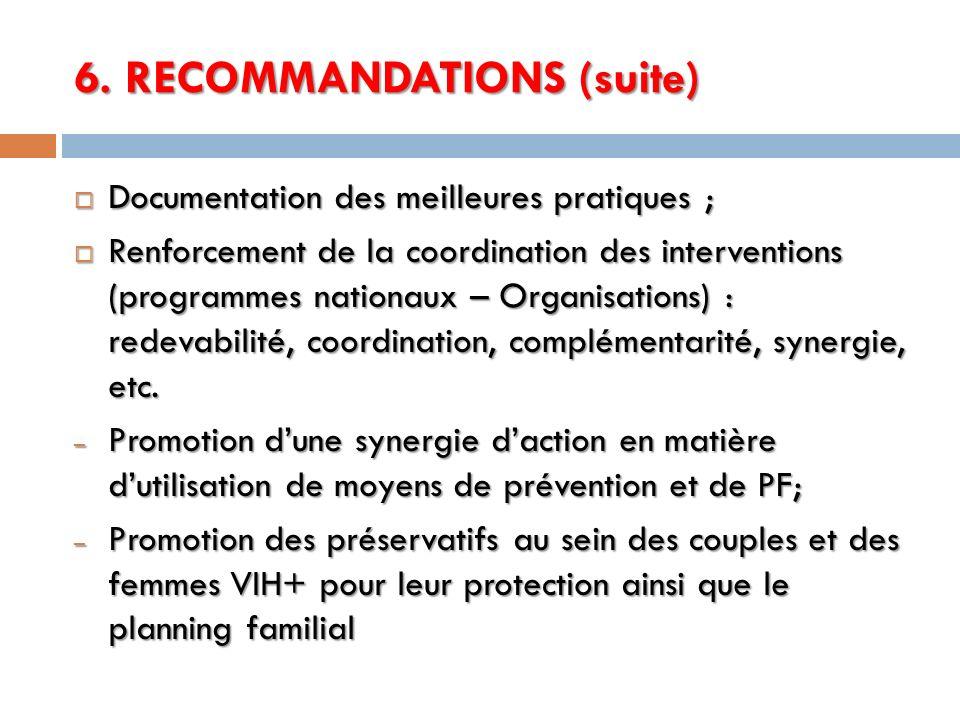 6. RECOMMANDATIONS (suite)