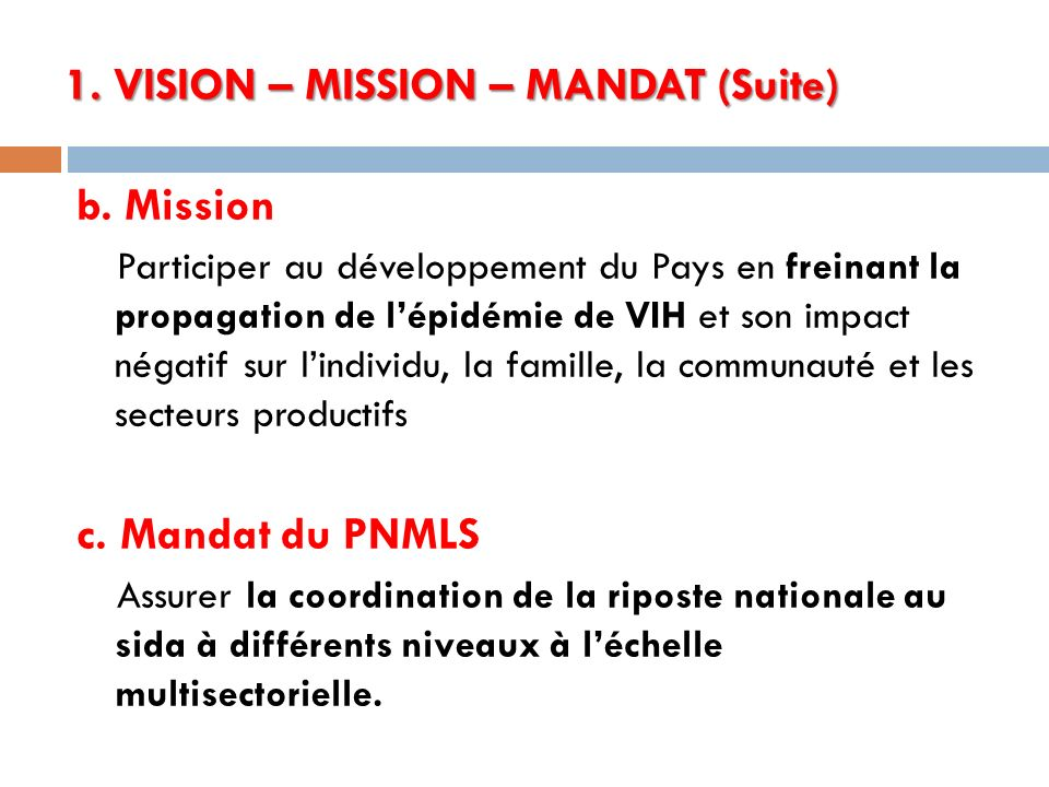 1. VISION – MISSION – MANDAT (Suite)