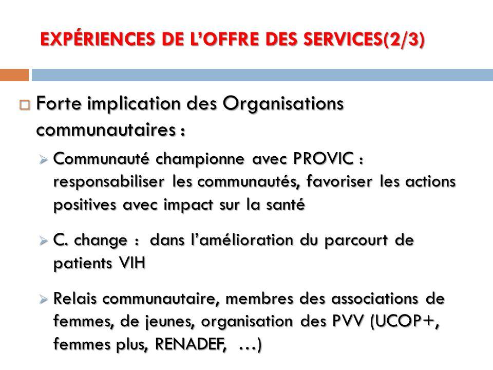 EXPÉRIENCES DE L'OFFRE DES SERVICES(2/3)