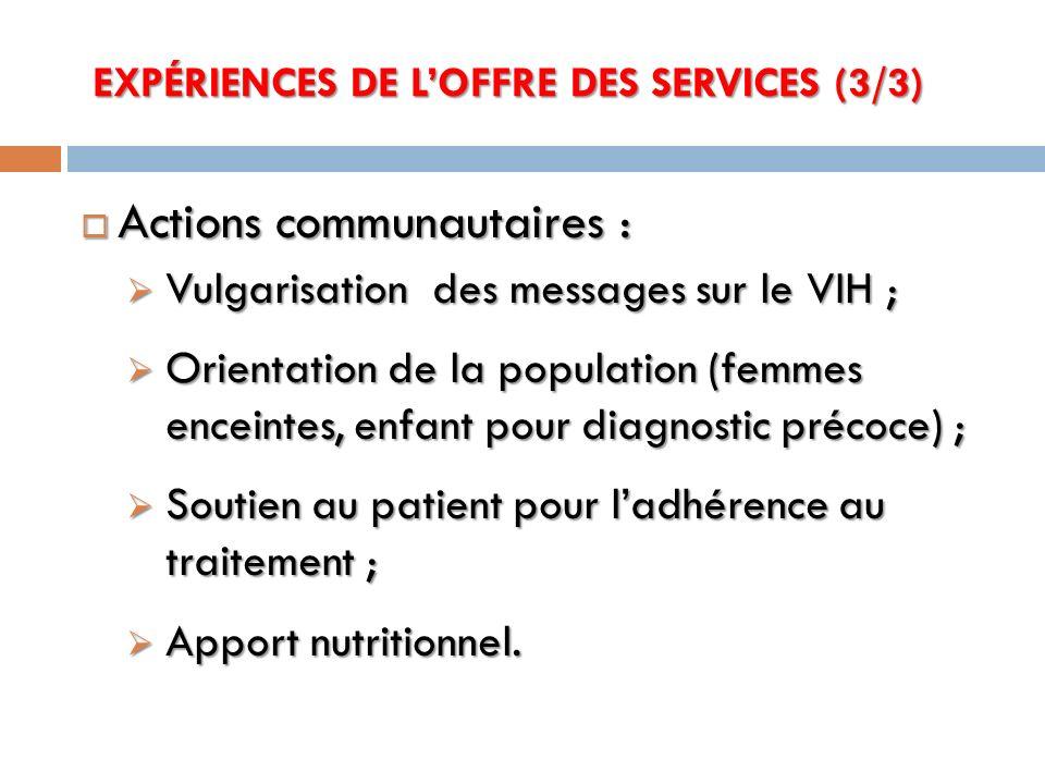 EXPÉRIENCES DE L'OFFRE DES SERVICES (3/3)