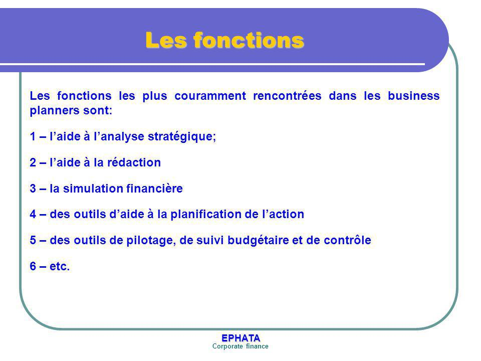 Les fonctions Les fonctions les plus couramment rencontrées dans les business planners sont: 1 – l'aide à l'analyse stratégique;