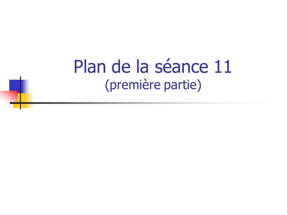 Plan de la séance 11 (première partie)