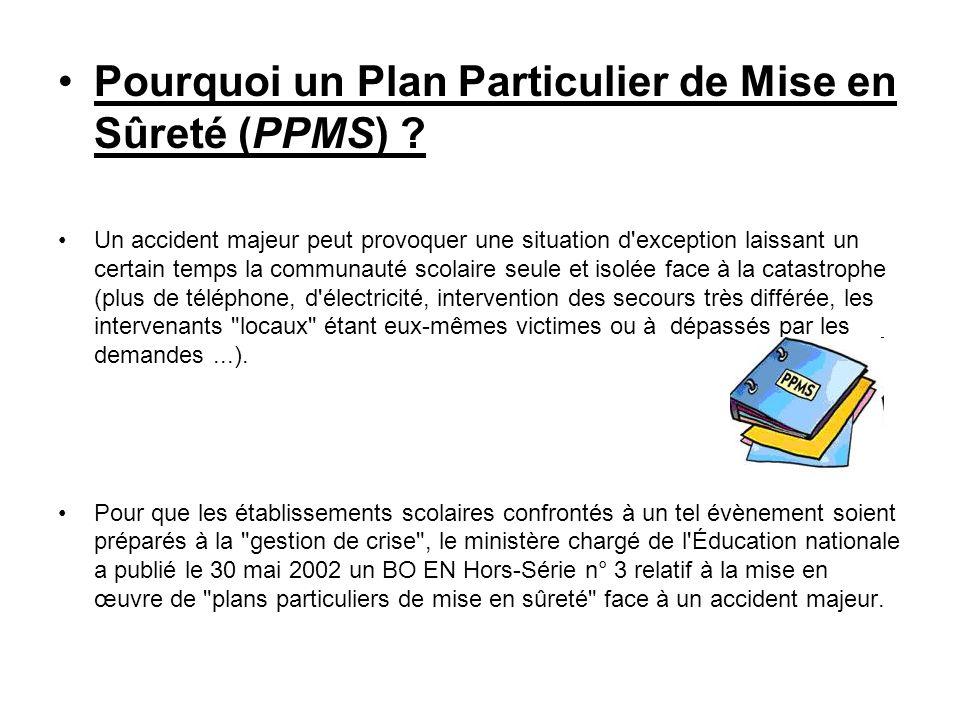 Pourquoi un Plan Particulier de Mise en Sûreté (PPMS)