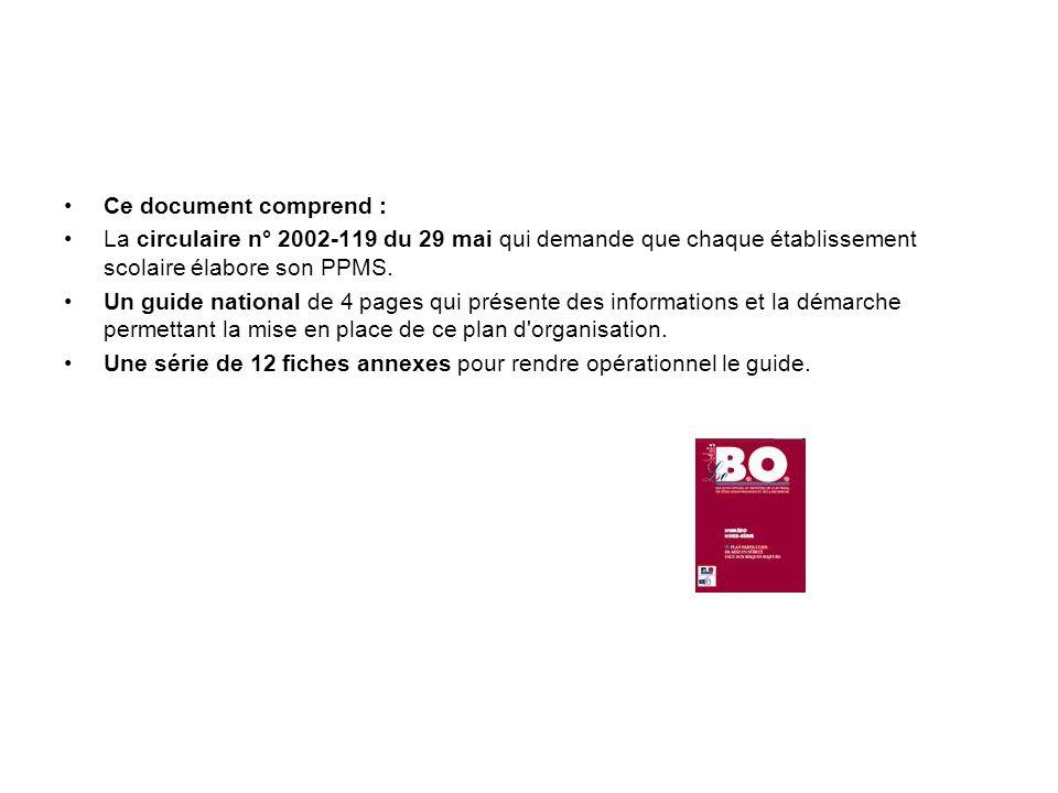 Ce document comprend : La circulaire n° 2002-119 du 29 mai qui demande que chaque établissement scolaire élabore son PPMS.