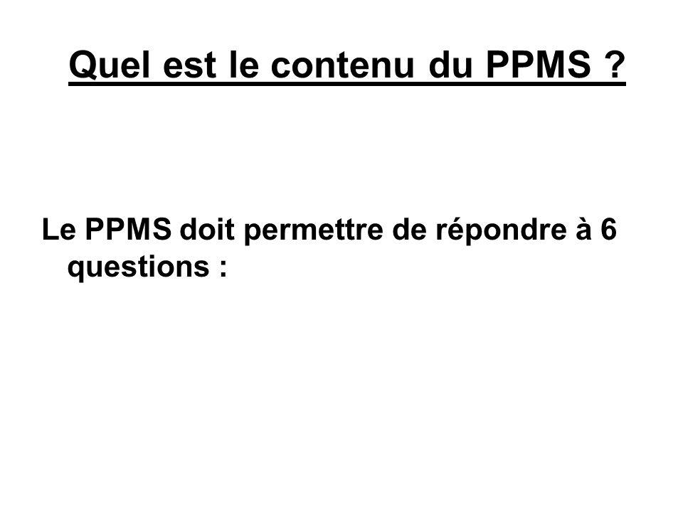 Quel est le contenu du PPMS