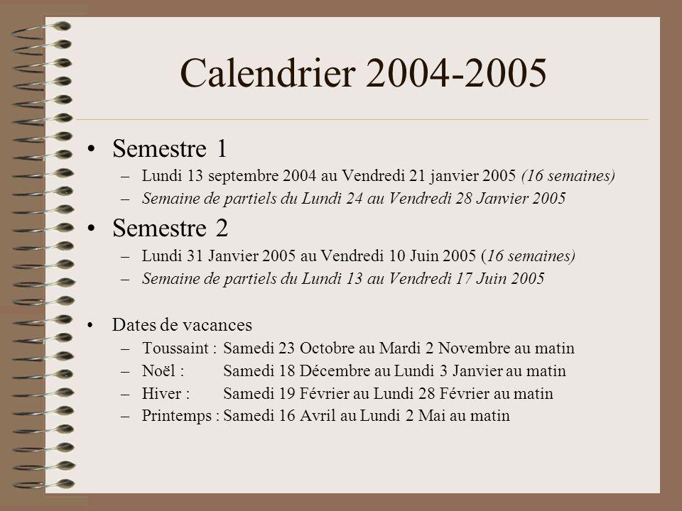 Calendrier 2004-2005 Semestre 1 Semestre 2 Dates de vacances