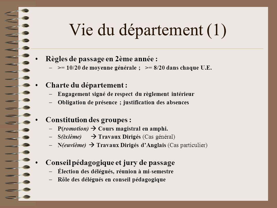 Vie du département (1) Règles de passage en 2ème année :