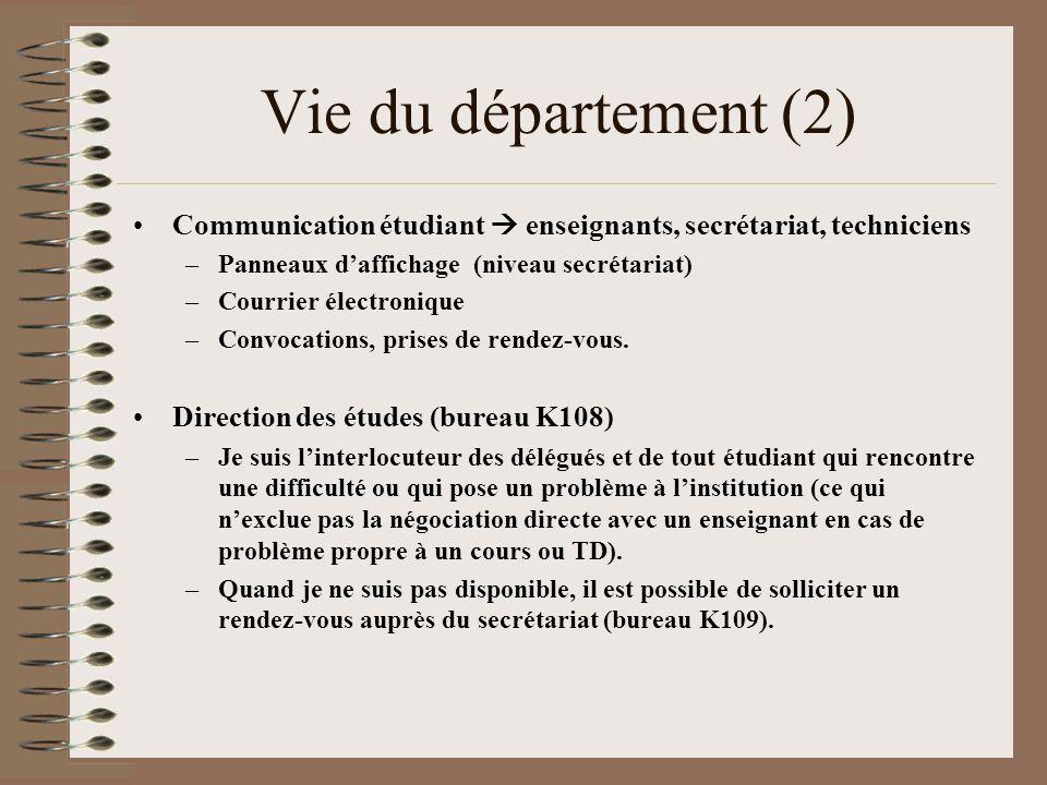 Vie du département (2) Communication étudiant  enseignants, secrétariat, techniciens. Panneaux d'affichage (niveau secrétariat)