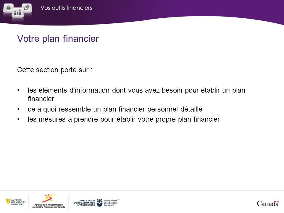 Votre plan financier Cette section porte sur :