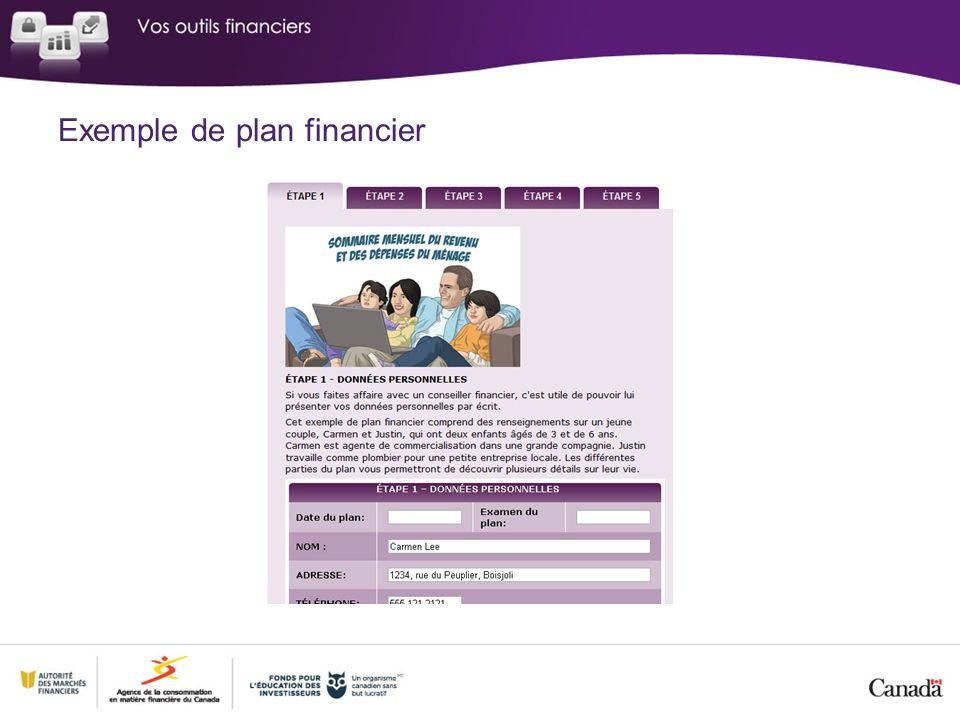 Exemple de plan financier
